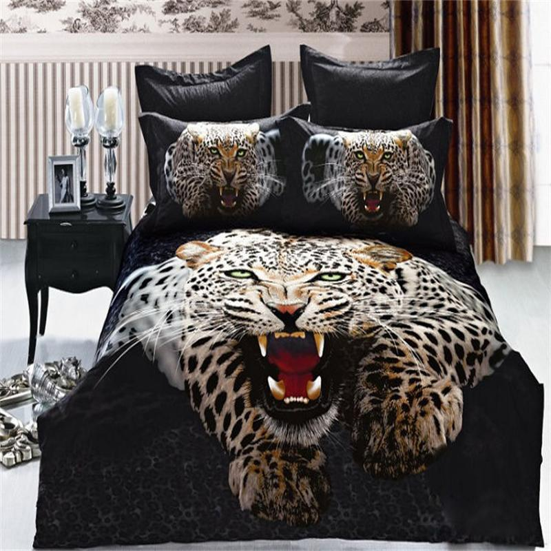 lifelike 3d snow leopard bedding set queen size pure cotton animal print manly bedroom sets pillowcase duvet cover bed sheetsin bedding sets from home
