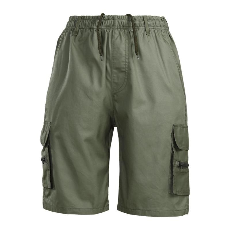 New 2018 Summer Mens Baggy Cargo Shorts Multi Pocket Military Zipper Army Green Men Drawstring Shorts Casual Beach Short Pants