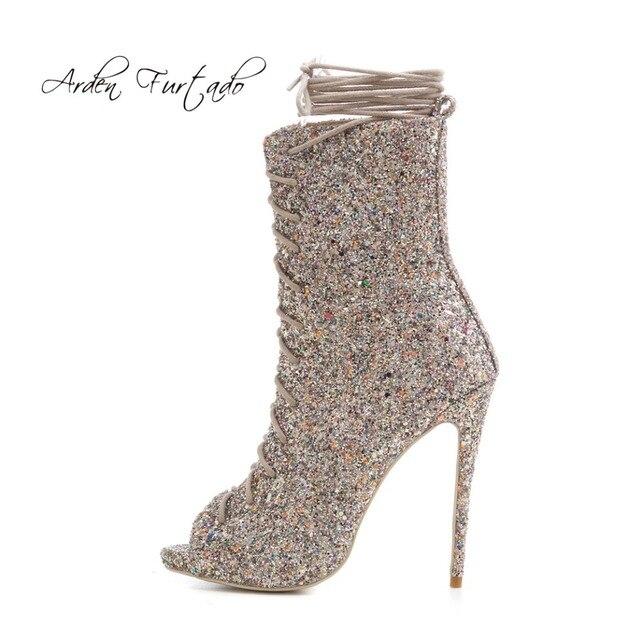 1d5c0cc06685 Arden Furtado 2018 spring summer high heels platform sexy ankle strap peep  toe stilettos gold silver boots gladiator bling bling