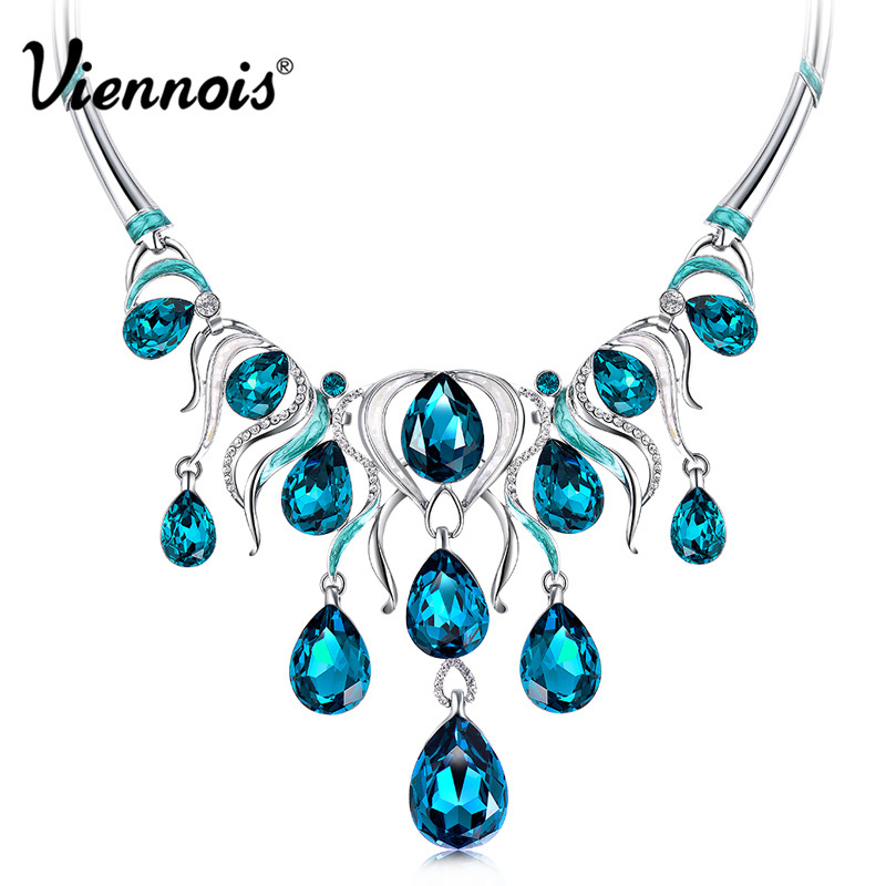 Viennois Fashion Jewelry Silver Color Chain Necklace with Blue Crystal Rhinestone Woman Luxury Wedding Necklaces petal rhinestone chain fringe necklace