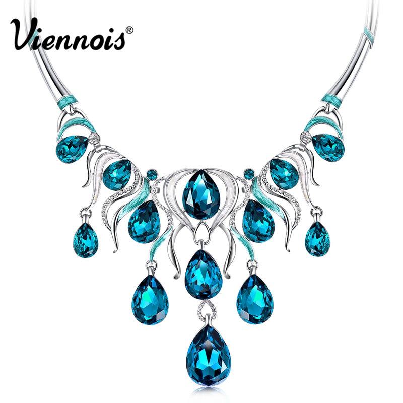 Viennois bijoux de mode couleur argent chaîne collier avec cristal bleu strass femmes de luxe colliers de mariage