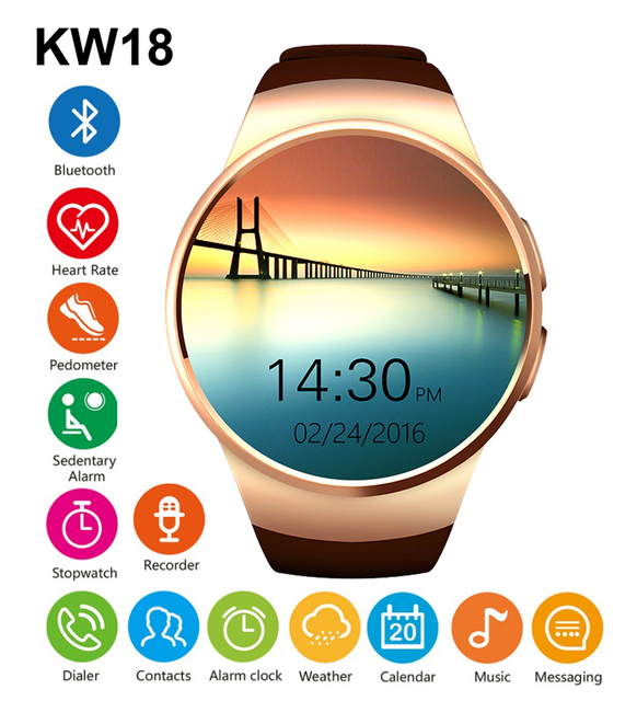 Bluetooh kw18 smartwatch heart rate monitor apoio tf cartão sim smart watch para iphone samsung huawei engrenagem s2 android smartwatch