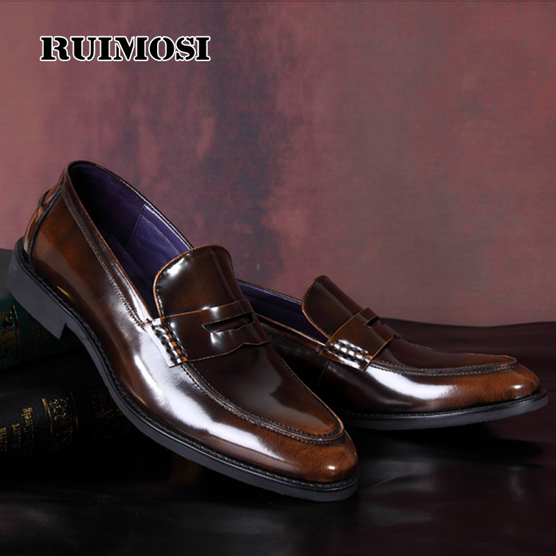 RUIMOSI Formal Round Toe Man Casual Shoes Patent Leather Comfortable Male Loafers Designer Brand Men's Work Boat Flats MG22