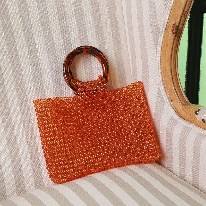Sac à main perlé de mode pour femme Vintage poignée en acrylique perle sacs à dîner été grande capacité fourre-tout sac de plage Designer de luxe