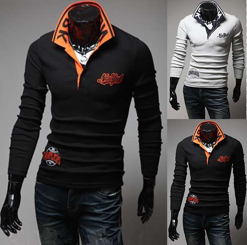 And winter Autumn explosion models wholesale new shirt York Polo embroidery long sleeved 141330