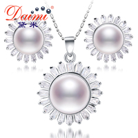 DAIMI Natural Big Pearl Pendant Silver Earrings  New Luxury Jewelry, 10-11,12-13 mm Cultured Pearl Sets, Jewelry Sets