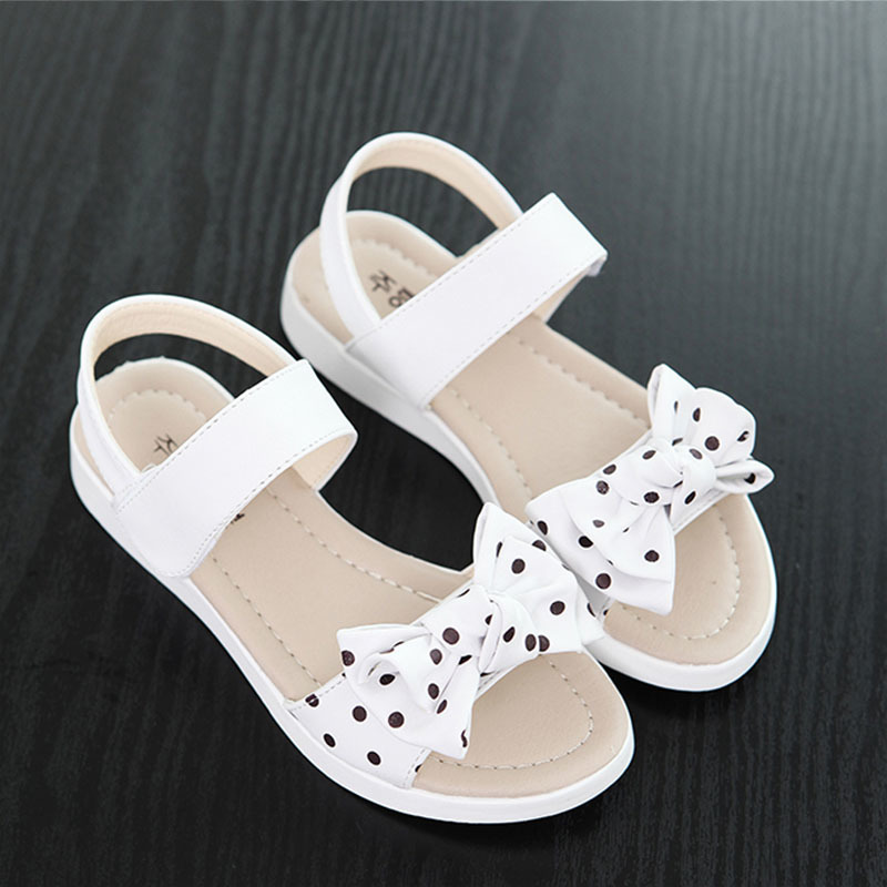 2018 New Sandals Girls Summer Pure Color Dotted Bow Beach Shoes Kids Flat Childrens Shoes Size 26 - 36 #1