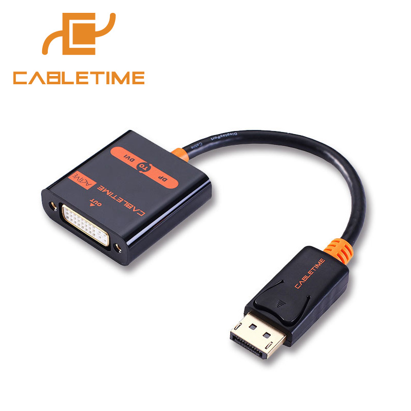 Cabletime DP to DVI Active DisplayPort to DVI Converter Display Port DVI Active Converter Gold for