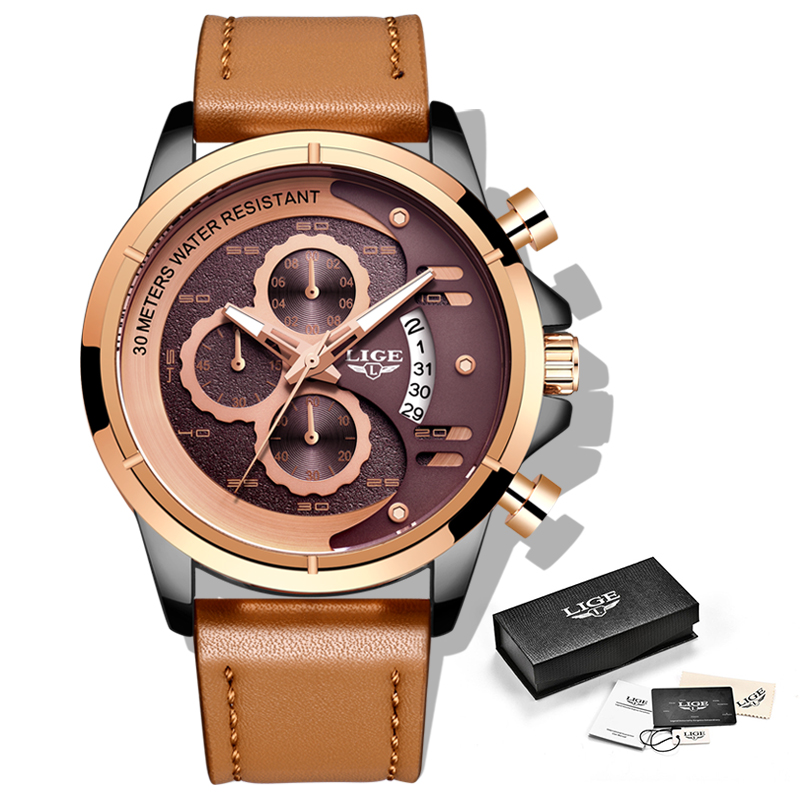 LIGE Watch Top Brand Man Watches with Chronograph Sports Waterproof Clock Man Watches Military Luxury Men 39 s Watch Analog Quartz in Quartz Watches from Watches