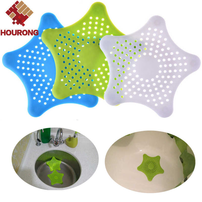 HOURONG 1Pc Creative Star Sewer Outfall Strainer Bathroom Sink Anti-blocking Floor Drain Kitchen Gadget Bathroom Accessory