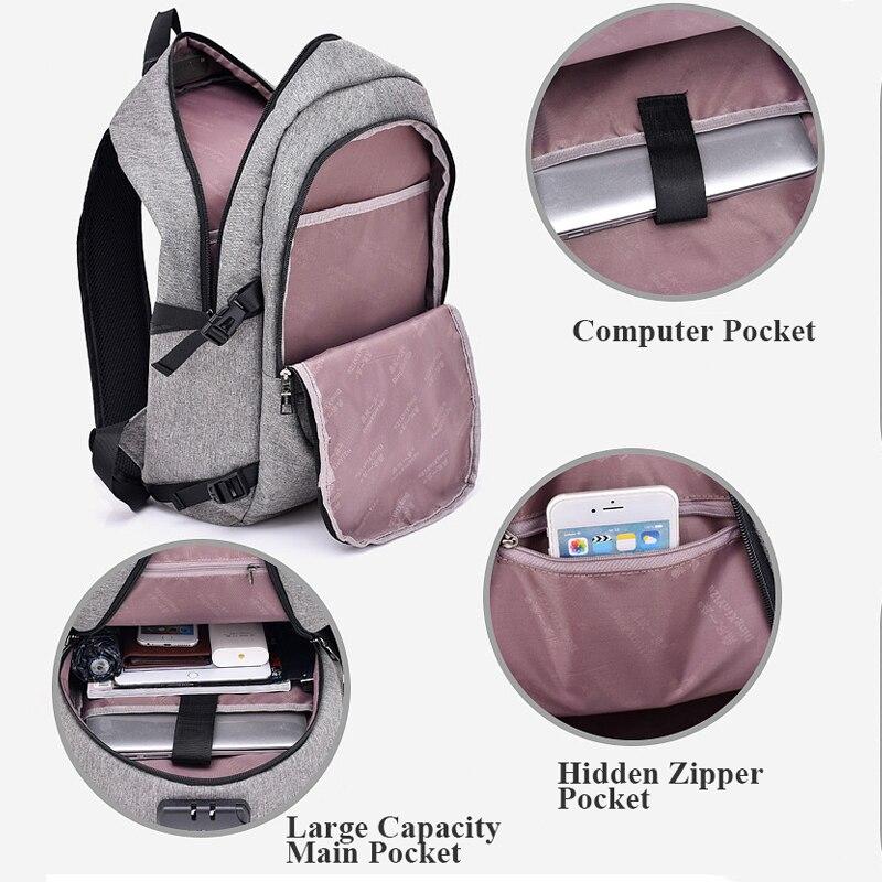 Hot Men Backpack USB Charging Password Prevent Theft Bag Large Capacity Stundet Backpacks Teens Travel Bag Laptop Bags