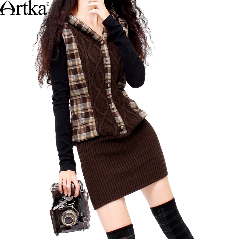 Artka Women's Autumn Plaid Knitted Patchwork Slim Fit Dress Vintage Hooded Sleeveless Comfy All-match Dress SA10027D zip back fit and flared plaid dress