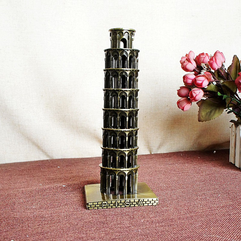 Retro Metal Italy The Leaning Tower of Pisa model World Famous Landmark Architecture home decoration accessories for children