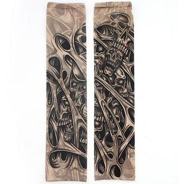 Fake Temporary Tattoo Sleeves Tattoos Full Long Slip On Arm Tattoo Sleeve Kit Men Elastic Nylon Glove Tattoos black skull design 3