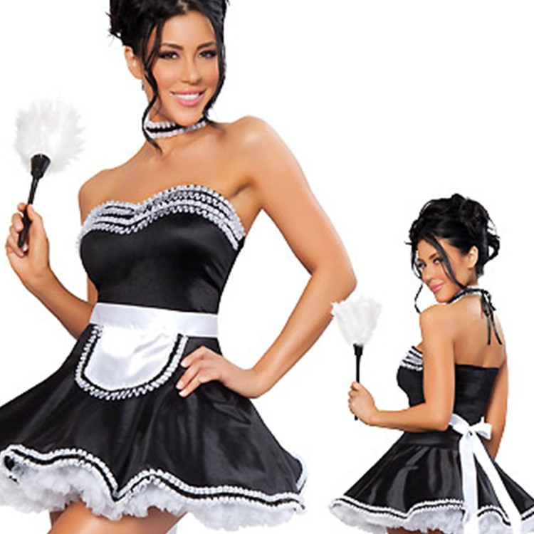 French Maid Fancy Dress Costume Outfit Plus Size Waitress Hen Party Costume