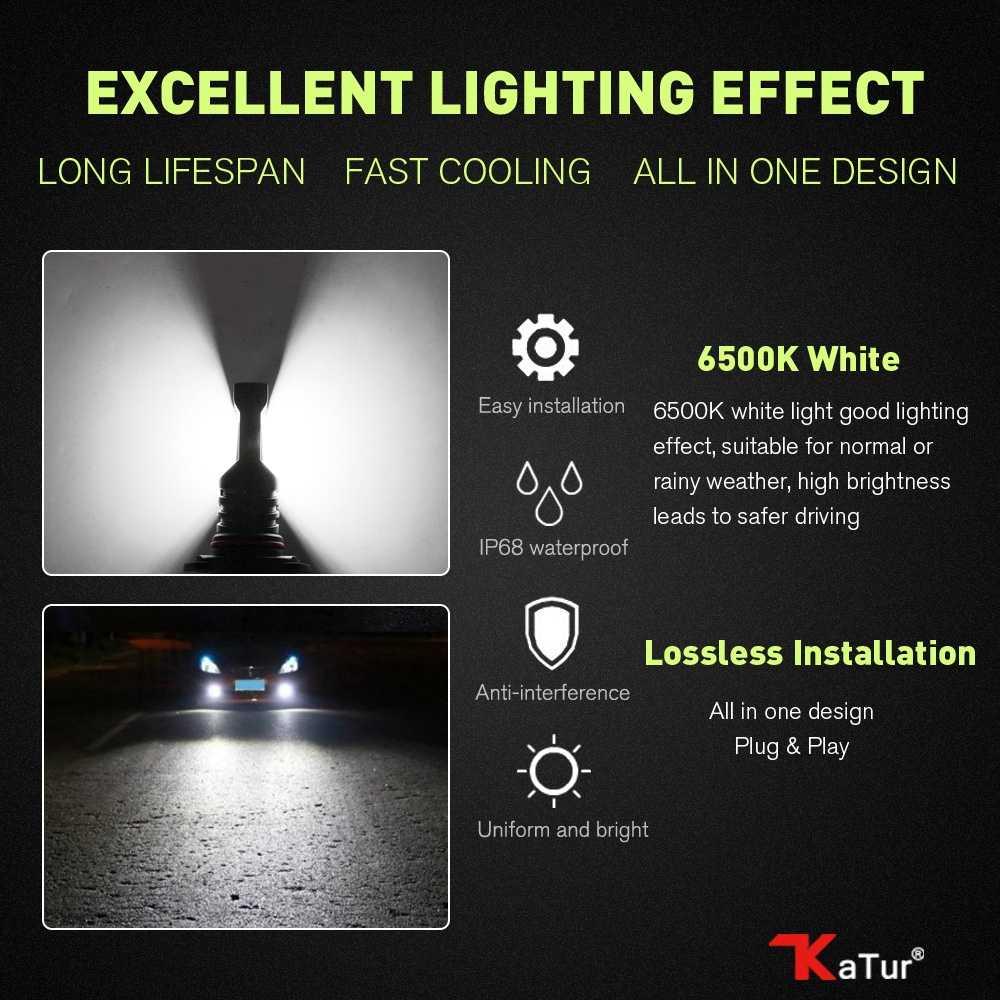 Katur 80W 9005 HB3 H10 Led Bulbs For Cars Driving Driving Fog Light CSP Chip Super Bright 6000K White Lighting 9006 HB4 Led Lamp