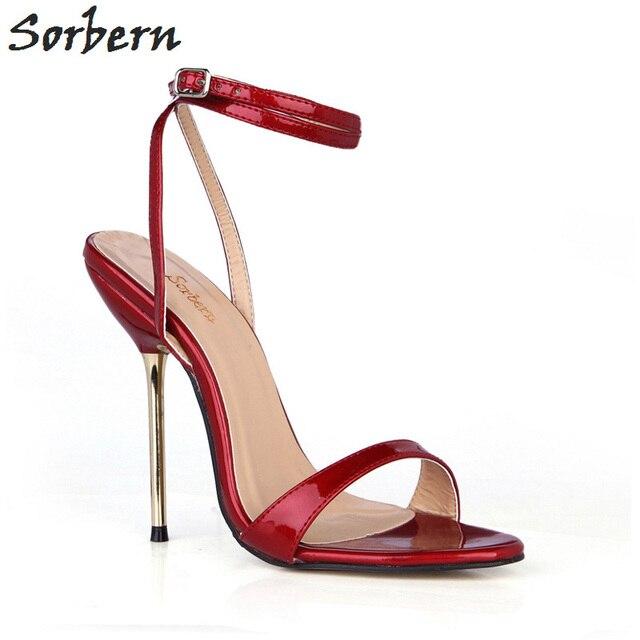 Sorbern Burgundy Gold High Heels Ladies Sandals Retro Shoes Women Slingback  Sandals Summer Shoes Women Sandals 9df85673d