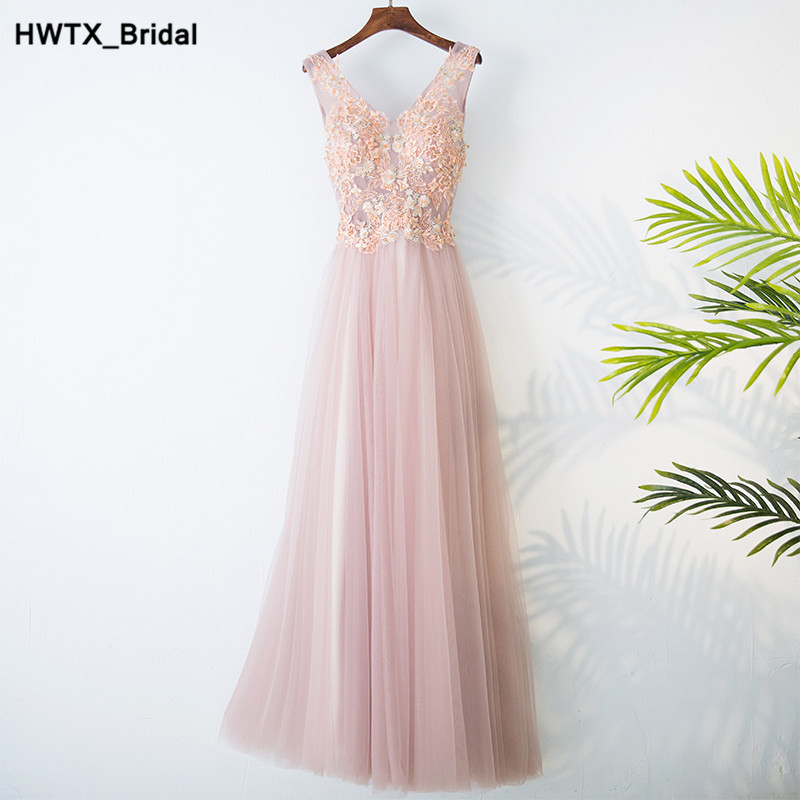 Sexy V-neck Long   Bridesmaid     Dresses   2018 Formal Fashion Applique Lace Pink Wedding Guest   Dress   Cheap robe demoiselle d'honneur