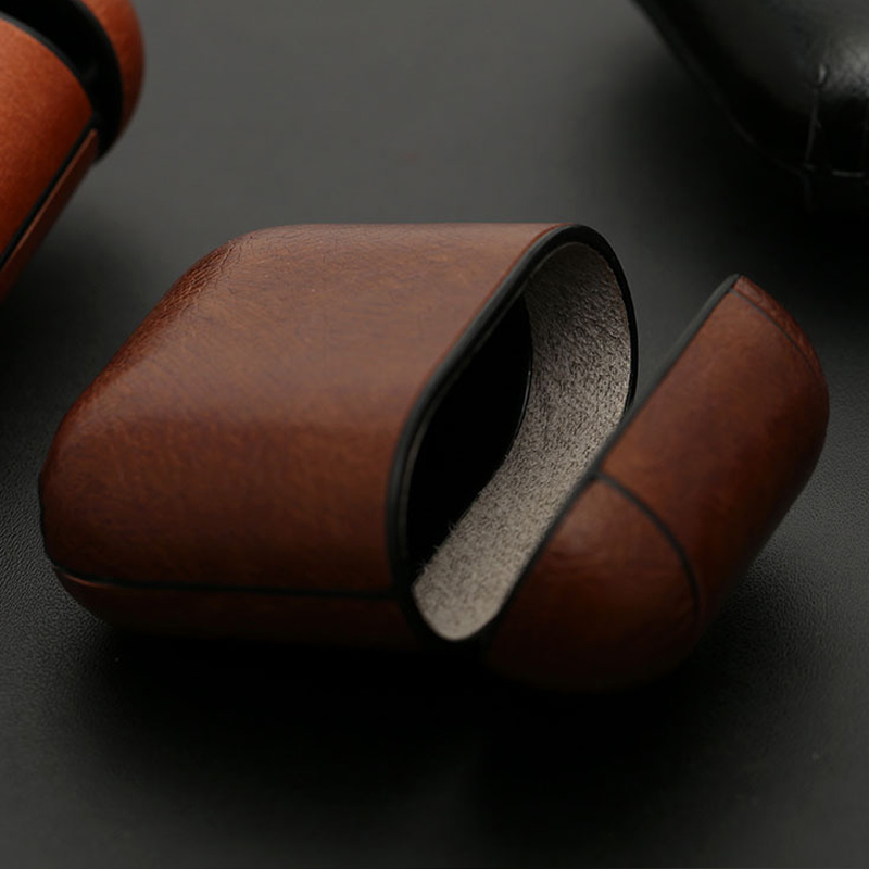 Negocios auricular caso para los Airpods de Apple correa de cuero de la PU de auriculares Bluetooth aire vainas funda bolsa AirPod accesorios 1:1