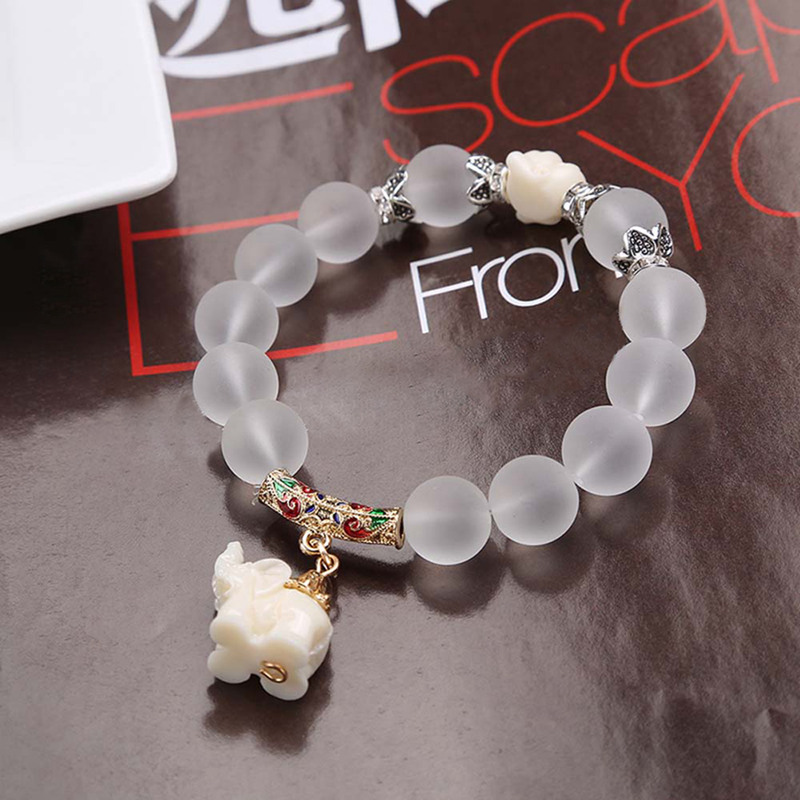 Ethnic Matte Crystal Elephant Charm Bracelet For Ladies  Antique Silver Buddha Head Animal Bead Cultural Bracelet Jewelry