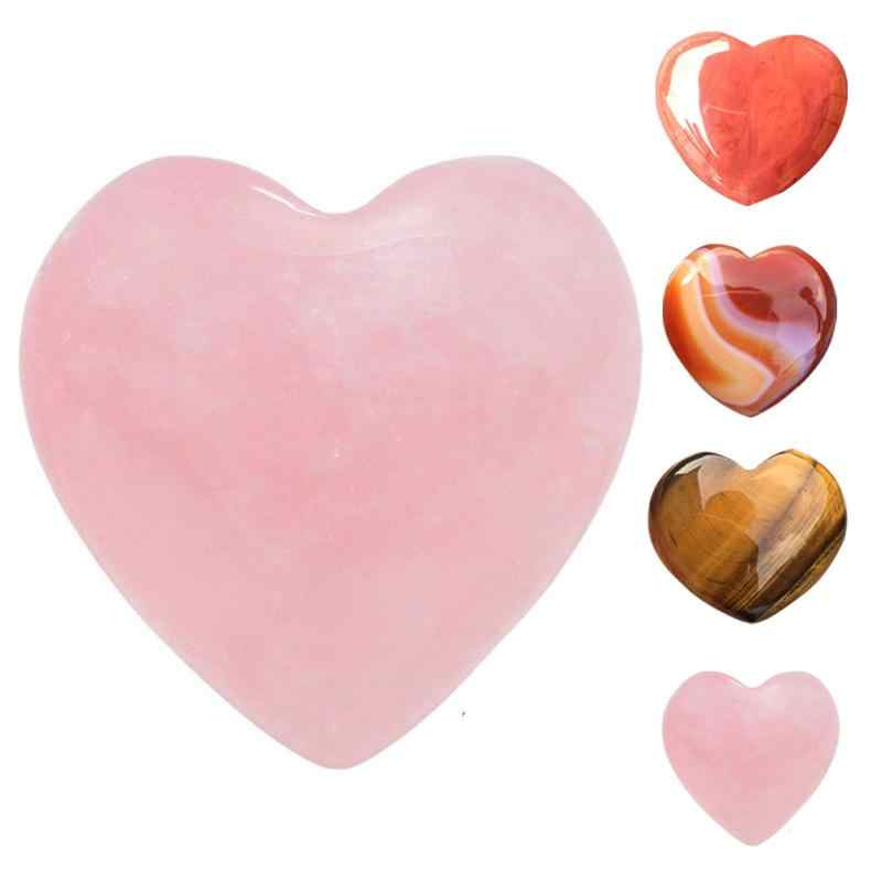 1Pcs Natural Stone Rose Quartz Heart Shaped Stone Striped Agate Crystal Carved Palm Love Healing Gemstones