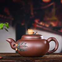 380ml Yixing Purple Sand Tea Pot Genuine Famous Pure Hand made Ore Purple Clay Longevity Peach Teapot Kung Fu Tea Kettle