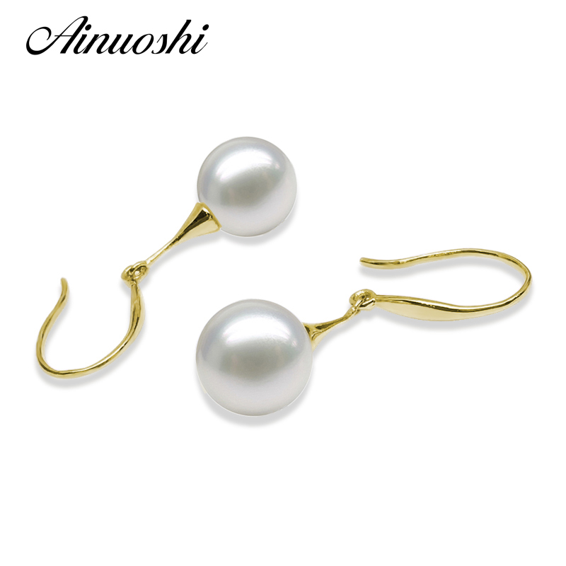 цена на AINUOSHI 18K Yellow Gold Ear Hook Earrings Drop Earrings Natural Freshwater White Pearl 7.5-8mm Round Pearl Women Drop Earrings