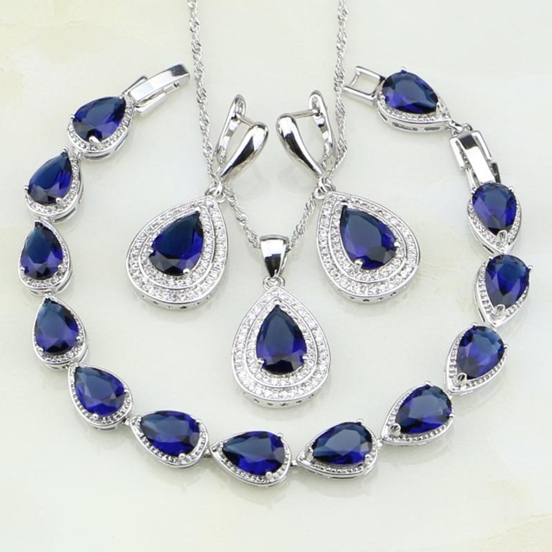 купить Water Drop Blue Cubic Zirconia White CZ 925 Sterling Silver Jewelry Sets For Women Wedding Earrings/Pendant/Necklace/Bracelet недорого