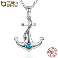 BAMOER Classic 925 Sterling Silver Blue Heart Crystal Anchor Pendant Necklaces Women Fashion Jewelry Engagement SCN051