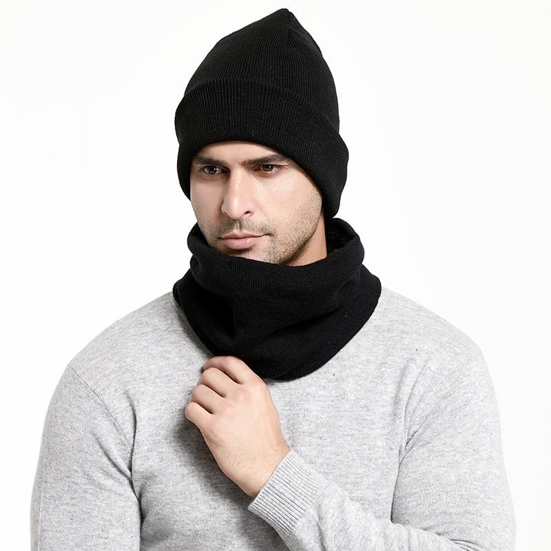Зимний мужской набор шапки и шарфа, сохраняющая тепло, толстая вязаная шапка s, зимние аксессуары, Мужская шапочка, шарф, осенняя утолщенная шапка - Цвет: Black