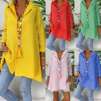 цена на New Plus Size Casual Women Polka Dot V Neck Long Sleeve Lapel Tunic Blouse Shirt Top