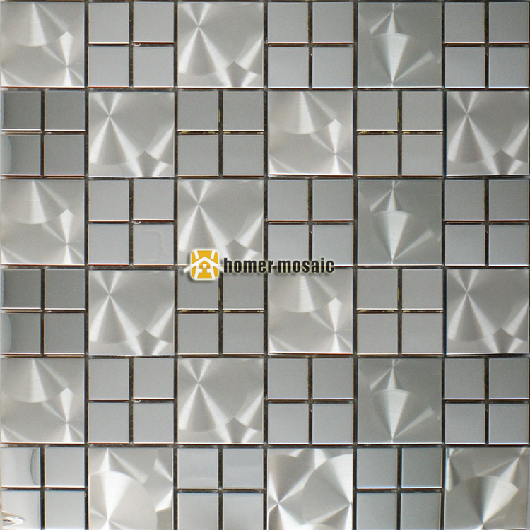 US $239.99 |real stainless steel metal mosaic tiles square sparkly metal  mosaic for living room kitchen backsplash metal mosaic-in Wallpapers from  ...
