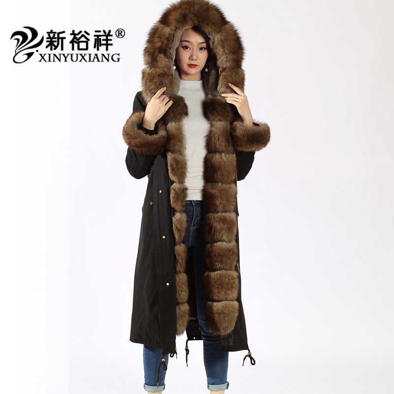 XINYUXIANG X-Long Réel fourrure de raton laveur Parkas femmes Épais chaud Naturel Rex de fourrure de lapin manteau Noir d'hiver de fourrure veste femelle 19B