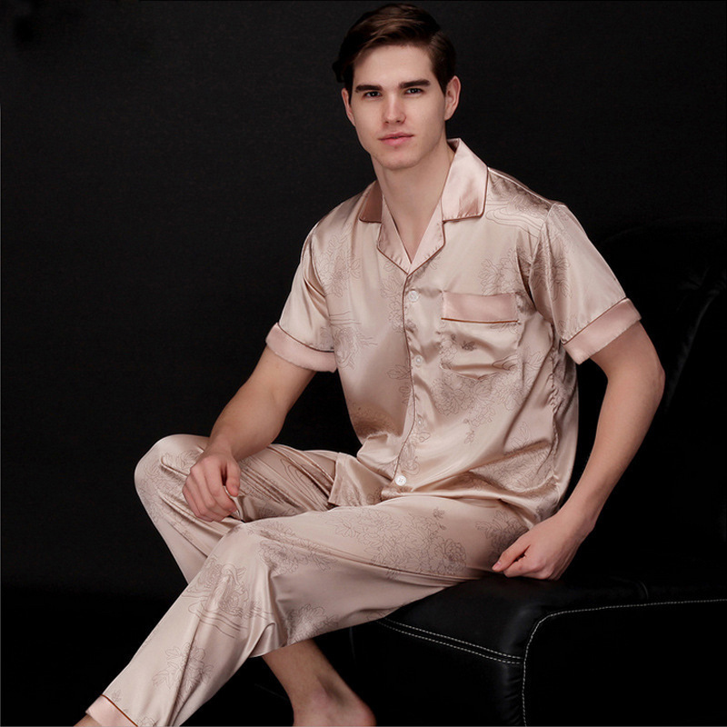 PS022 Mens Satin Silk Pajama Set Men Pajamas Silk Sleepwear Men Sexy Soft Cozy Satin Nightgown Men Summer Short Sleeves Pyjamas