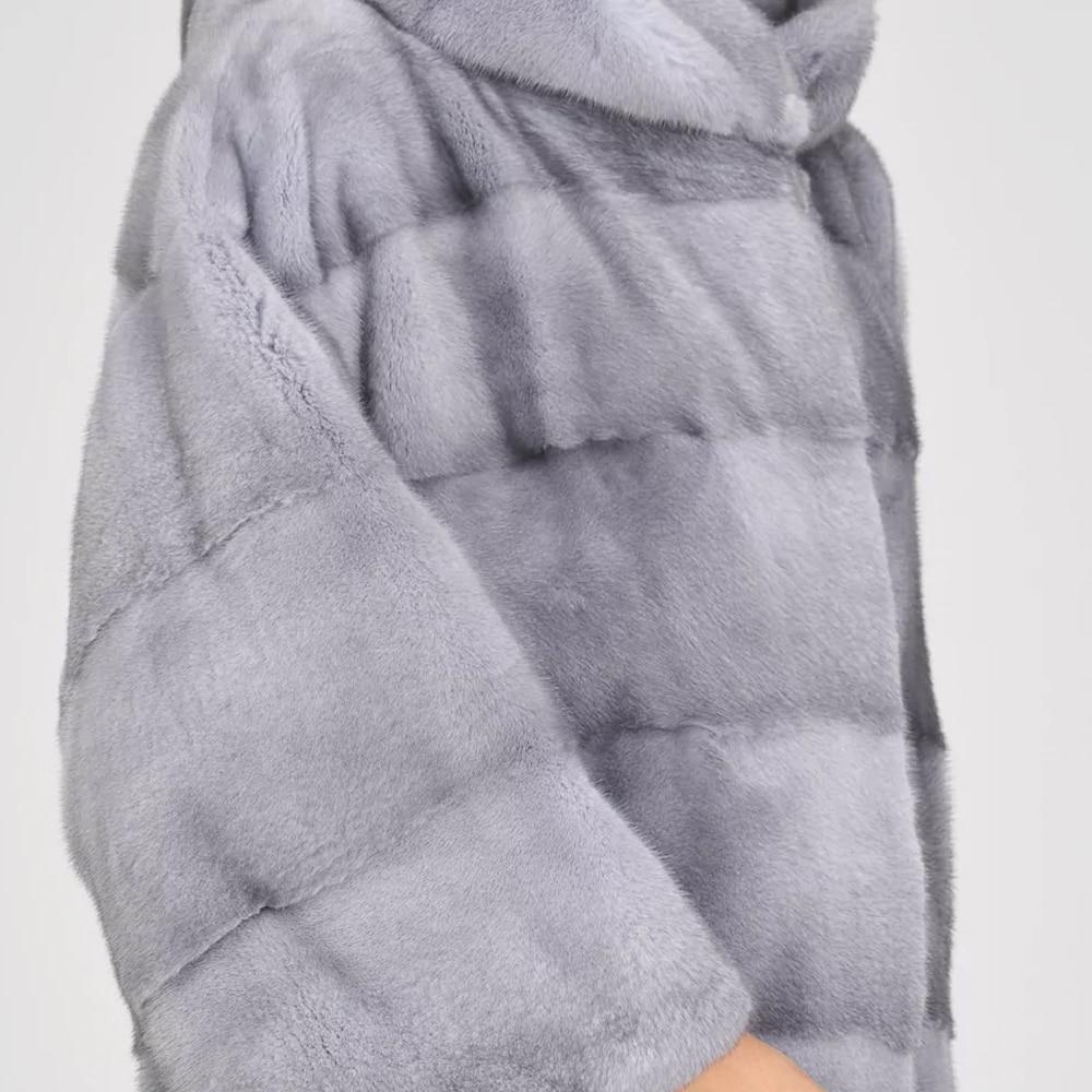 Mode Vison Femmes 2019 Pelt De Pleine Réel Nouvelle Capuchon Les Occasionnel Conception Arrivée Avec Main Pour Manteaux Import Hiver Mince Sapphire Fourrure Chaud Pardessus qww4AYt