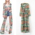 2015 New Fashion Women Long Cardigan Summer-Autumn Maxi Floor Ankle-length Chiffon Women Trench Outwear Lady Cardigan S,M,L