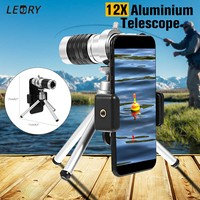 Universal 12X Telescope Zoom Camera Lens Aluminum HD Telephoto Lens With Phone Clip Tripod For Smartphones