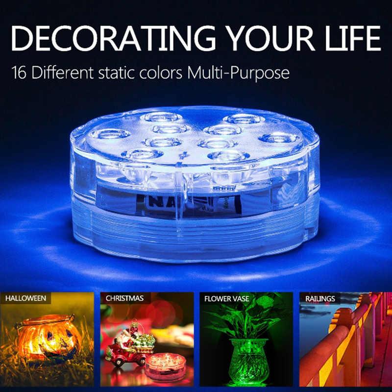 RGB Погружные Подводные водонепроницаемые светодиоды на батарейках 10led лампа пульт дистанционного управления Наружный свет для вазы чаши праздничный декор для сада