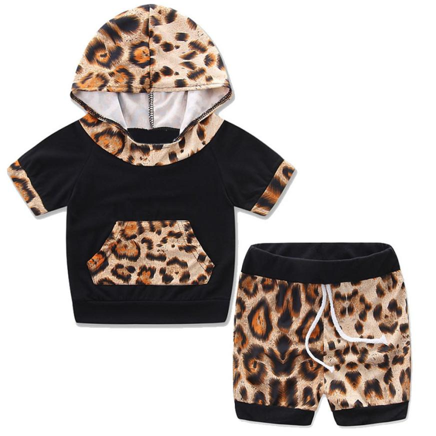 2018 Newborn Infant Toddler Baby Short Sleeve Hooded Leopard Tracksuit Top +Shorts Pants Outfits Comfortable And Breathable 6.1