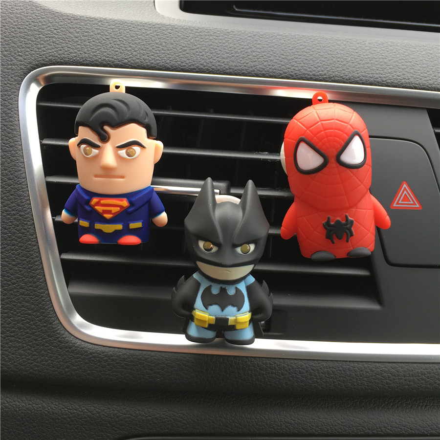 dower me Batman Superman Car styling Air Freshener Perfume Cute doll car perfume Automobile air conditioner clamp Perfumes