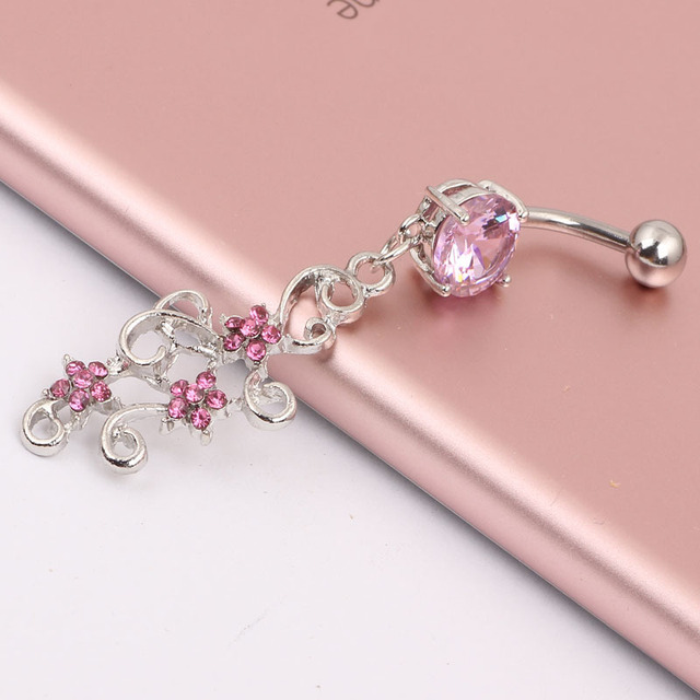 Plum Flower Cz Piercings Jewelry Womens Y Belly On Ring Long Dangle Clear Navel Bar Silver