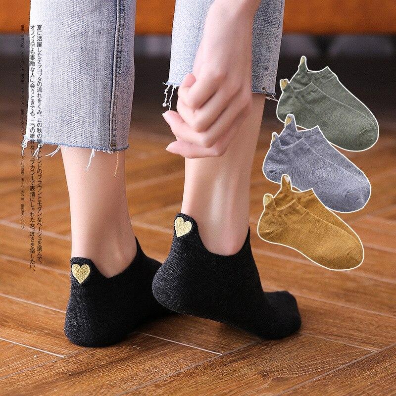 Fashion Socks Woman 2019 New Spring 1 Pair Ankle Socks Girls Cotton Color Novelty Women Fashion Cute Heart Casual Socks Lady
