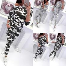 Fashion Women Tracksuit Autumn Camouflage Leopard Lady Long Sleeve Off Shoulder Sweatshirts Leggings Pants Casual Suit
