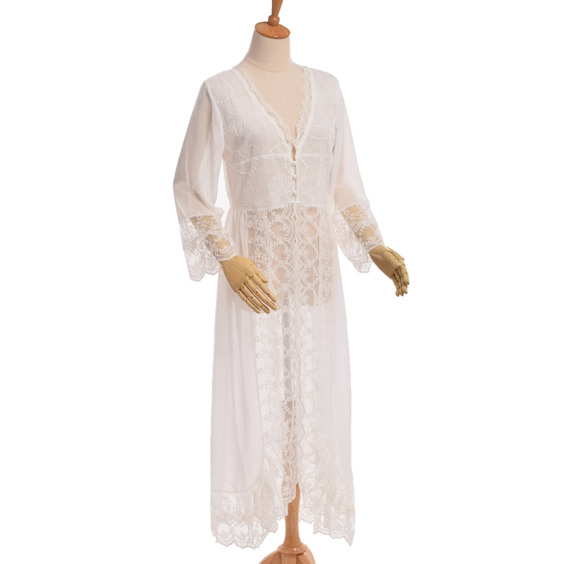 Romantic Women White Lace Long Robe Sexy Palace Lingerie Dreams Nightgowns Sleepwear