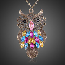2017 New Fashion Retro Style Colorful Rhinestone Owl Pendant Necklace Sweater Chain