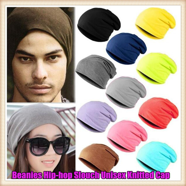 Fashion Men&Women Beanie Top Quality Solid Color Hip-hop Slouch Unisex Knitted Cap Spring&Winter Snap Slouch Skullies Bonnet Hat