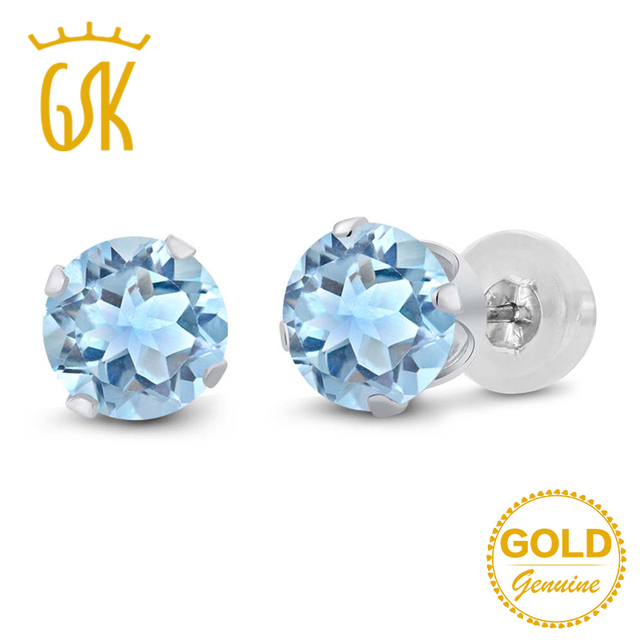 8a00d5551 GemStoneKing 2.39 Ct Round 6mm Natural Sky Blue Topaz Earrings For Women 14K  White Gold Classic Stud Earrings Fine Jewelry
