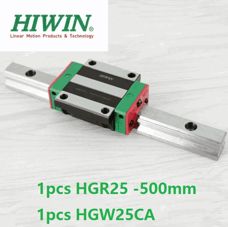 все цены на 1pcs 100% original Hiwin linear rail guide HGR25 -L 500mm + 1pcs HGW25CA HGW25CC flange block carriage for cnc онлайн