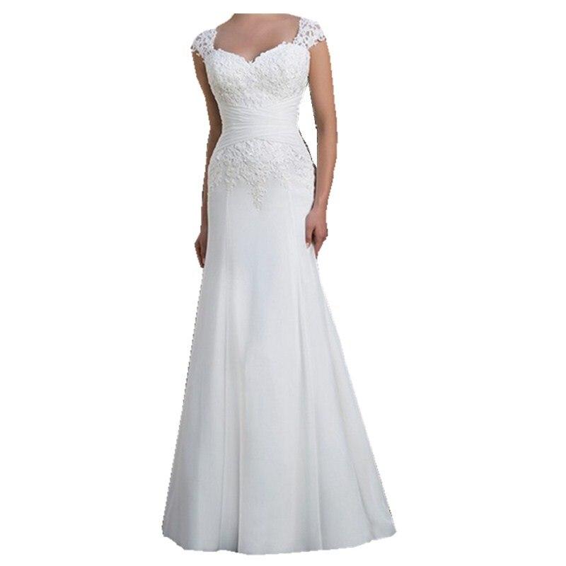 Vestidos De Novia Elegant Backless Lace Wedding Gown V neck Chiffon Sheath Mermaid Wedding Dresses 2019