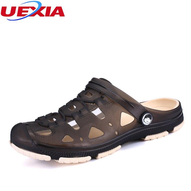 c459c3a8c7422f UEXIA Men Sandals Summer Style Men Beach Shoes Hollow Slippers Hole  Breathable Flip Flops Non slip ...